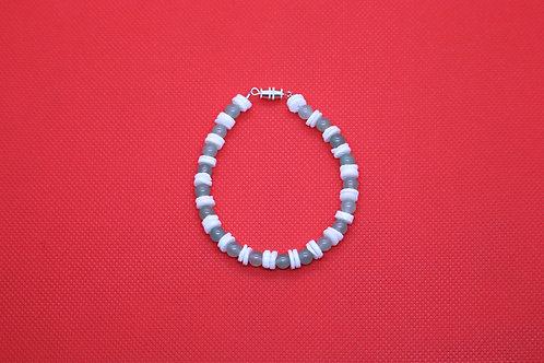 Green Aventurine White River Shell (59) - Bracelet : Beaded