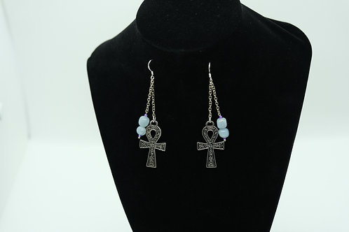 Aquamarine Ankh Silver Chain (5) - Earrings : French Hook Dangles