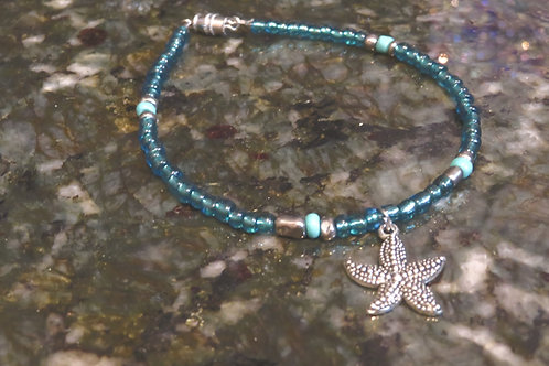 Silver Iris Turquoise & Teal Glass Starfish (71) - Ankle Bracelet / Anklet
