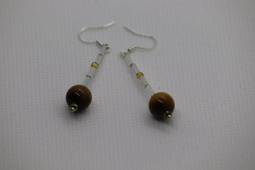 Tigers Eye Crystal Bugle (8) - Earrings : French Hook Dangles