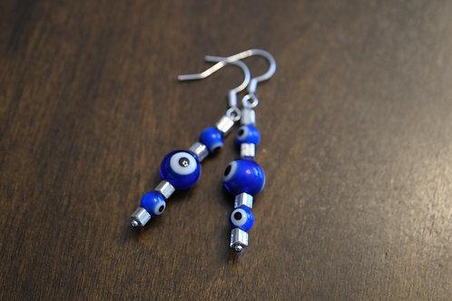 Evil Eye Silver Square (7) - Earrings : French Hook Dangles