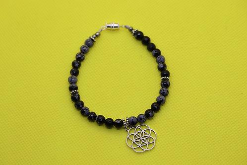 Snowflake Obsidian Seed Of Life (39) - Charm Bracelet : Beaded