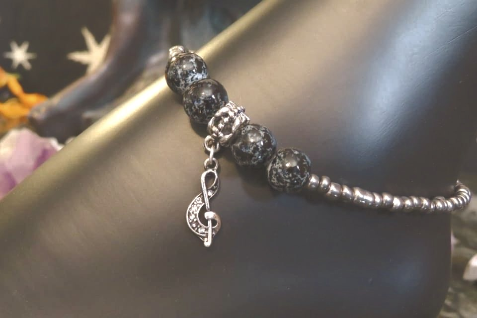 Silver Iris & Black Glass Musical (67) - Anklet / Ankle Bracelet : Beaded