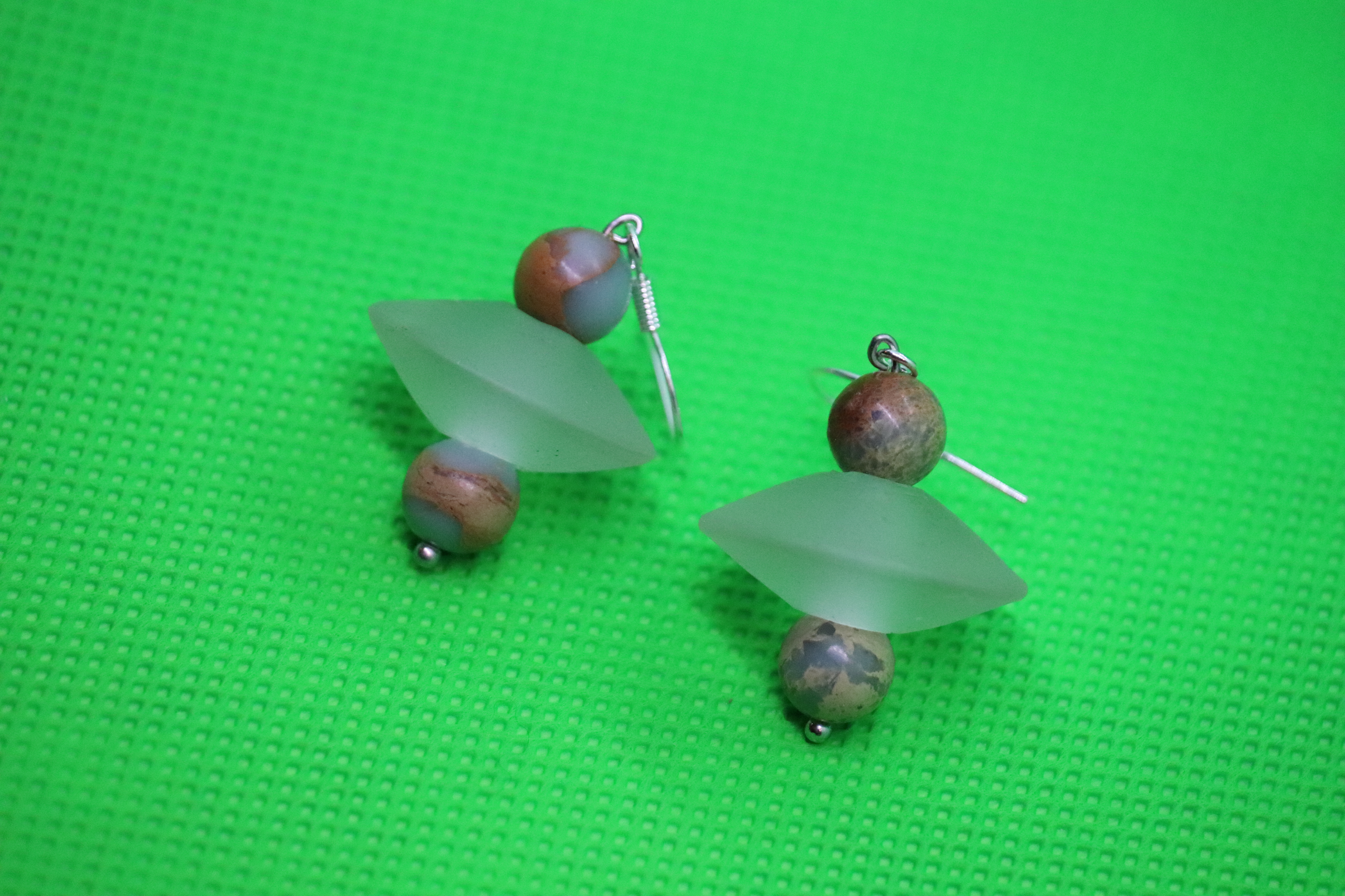 African Opal Jasper Frosted Glass Disks (3) - Earrings : French Hook Dangles