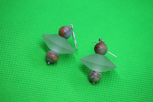 African Opal Jasper Frosted Glass Disks (3) - Earrings : French Hook Dangles