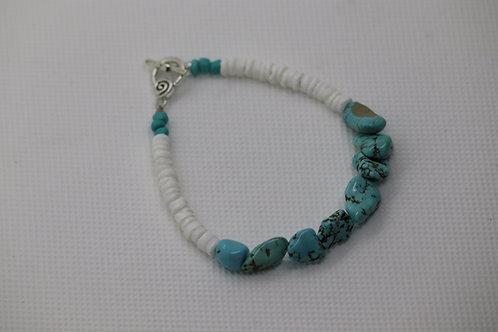 Turquoise Dyed Howlite White River Shells (54) - Bracelet : Beaded