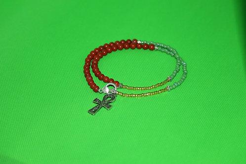 Red Jasper Green Glass Ankh (144) - Double Wrap Charm Bracelet : Beaded