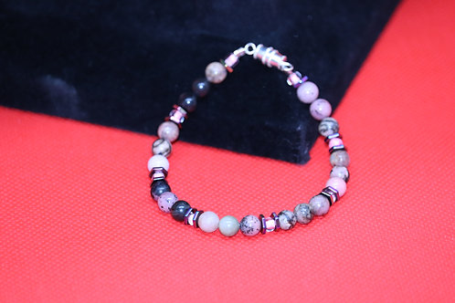Rhodonite Hematite Hexagon (44) - Bracelet : Beaded