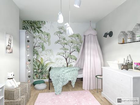 Pokój dziecięcy - mural z motywem roślin
