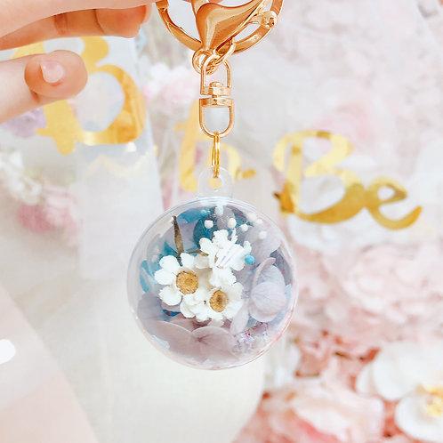透明小花球鎖匙扣