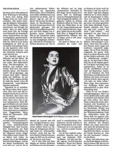 Ruth Megary , Münchner Merkur- Schloss-Zelt 60ster – Presse