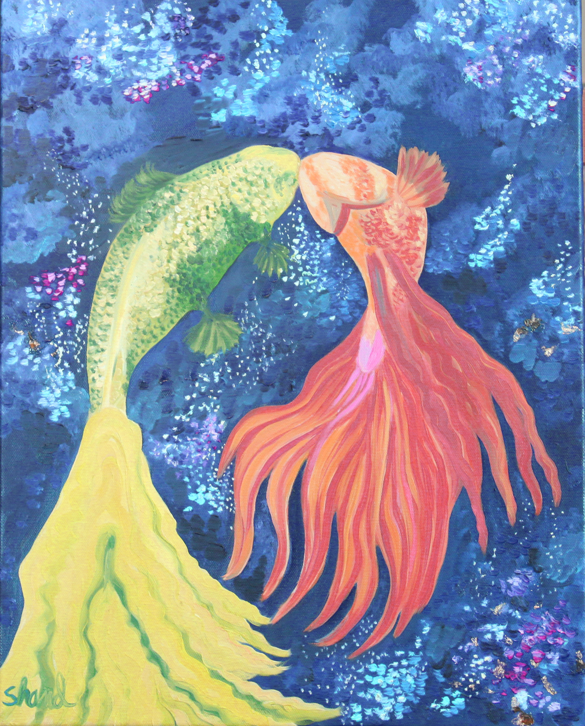 The fish kiss 16W x 20 H