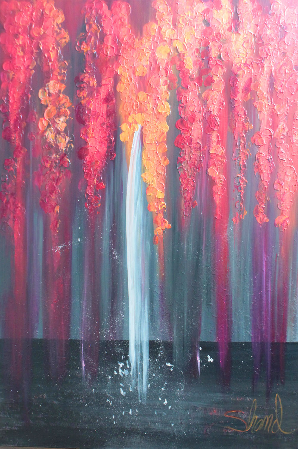 Waterfall in red 40W x 60H small