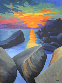 sunset over rocks 40 x 48 with border