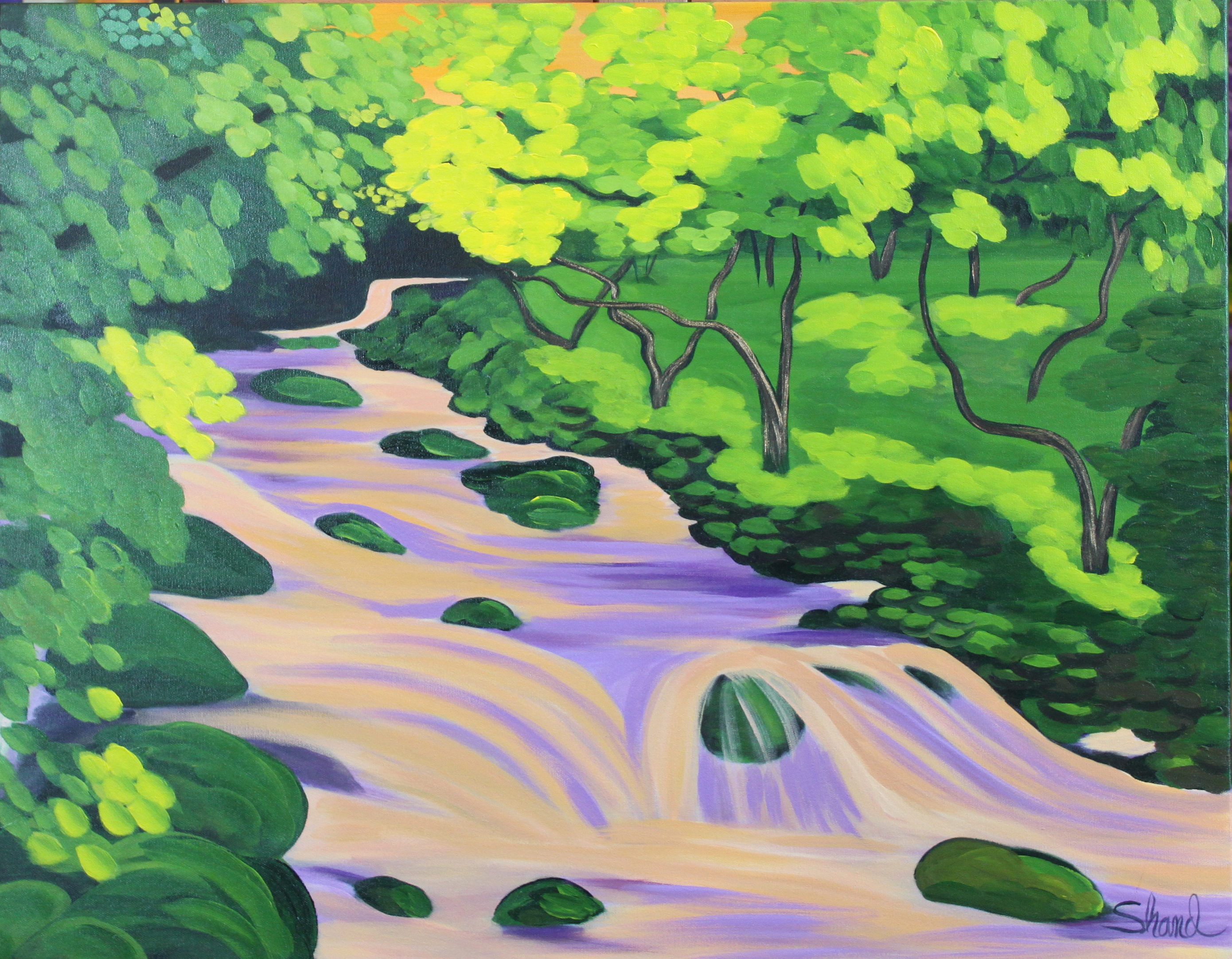 Pink water falls_28W x 22H_WB