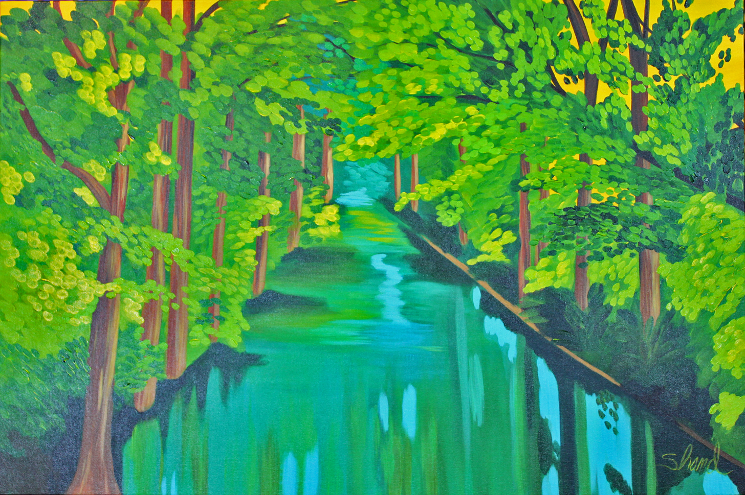 trees over the canal 36 x 24 no border