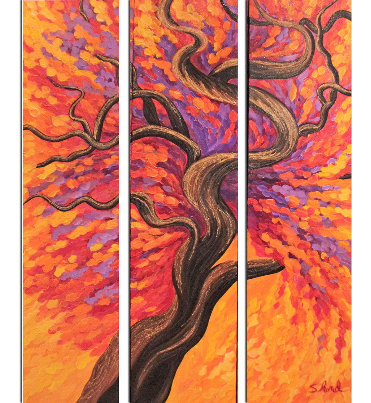 Destiny of joy (Triptyque) 36W x 48H with border Small SEPARATED