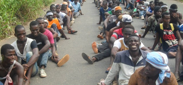 A non-violent and unarmed sit-in to block the security forces from breaking up an Ivorian Popular Front (FPI) Congress, 30 April 2015, Mama, Côte d'Ivoire