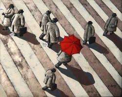 Celui au parapluie rouge