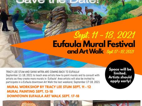 SAVE THE DATE!! Eufaula Mural Festival & Art Walk coming September 11-18, 2021