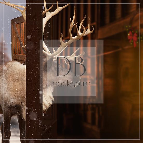 Reindeer Peeking Through Barn Window PLAIN