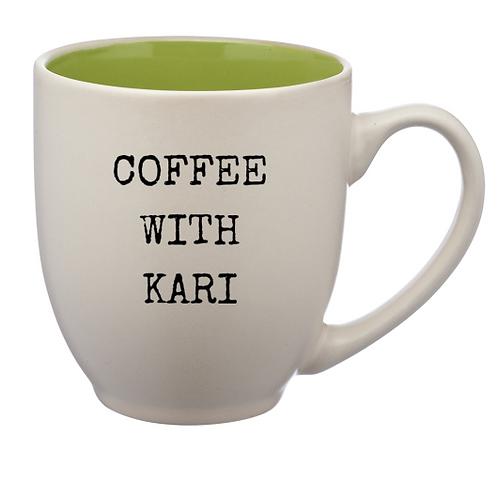 """Green """"Coffee with Kari"""" 16 oz. Mug"""