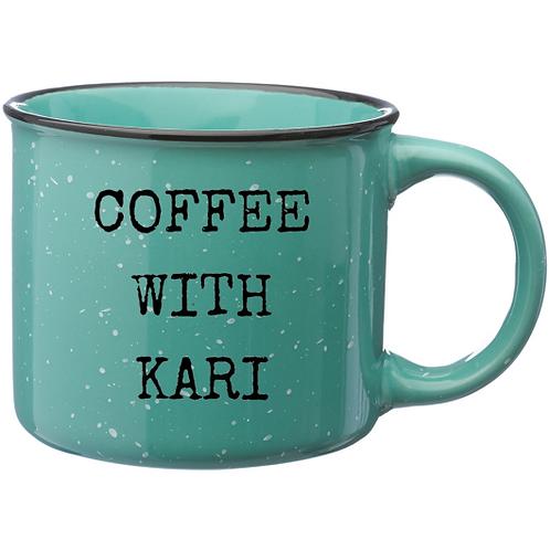 """Teal """"Coffee with Kari"""" 13 oz. Mug"""
