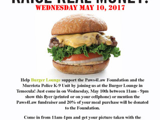 Burger Lounge Fundraiser for Paws4Law May 10, 2017
