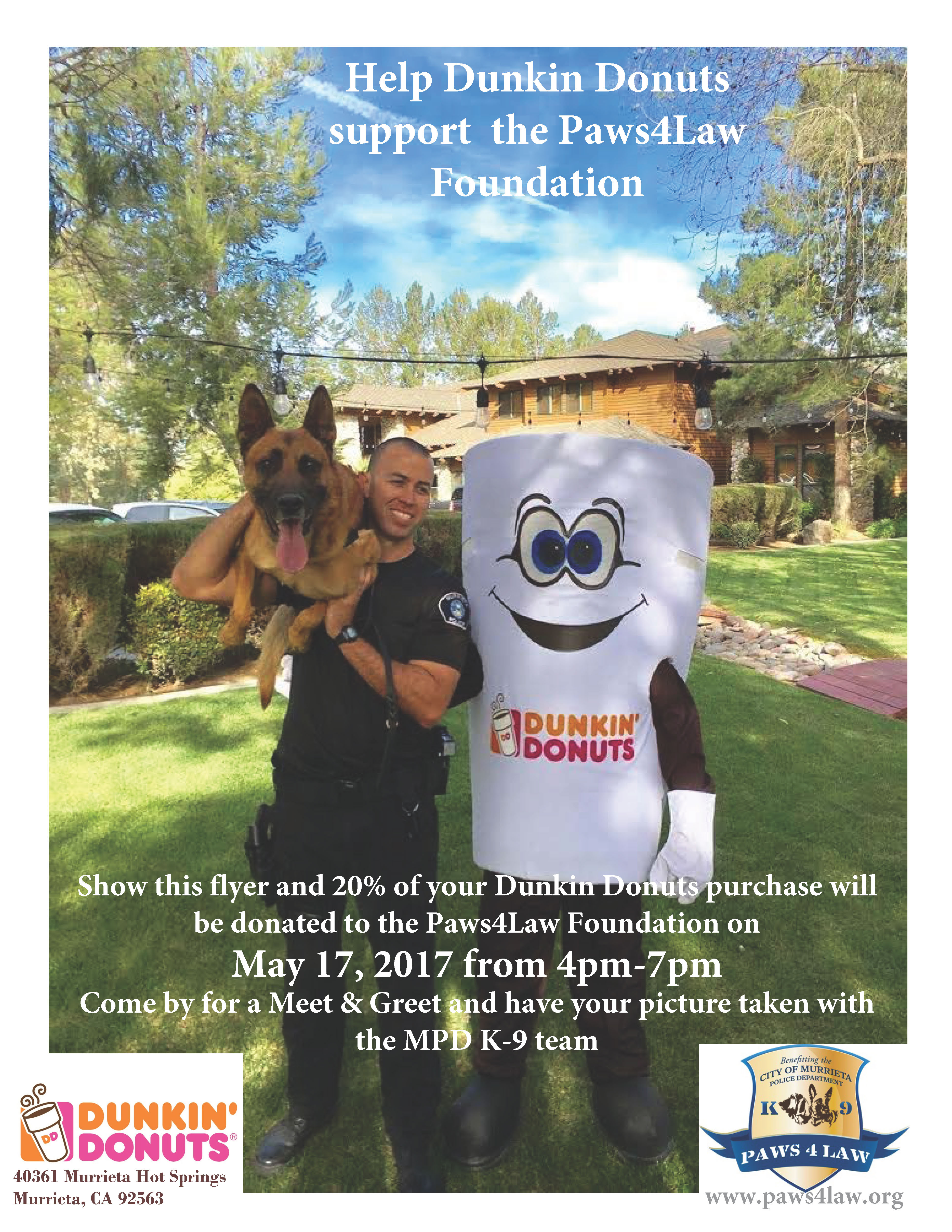 Dunkin Donuts Fundraiser for Paws4Law