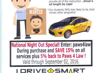 """I Drive Smart"" Fundraiser for Paws4Law"