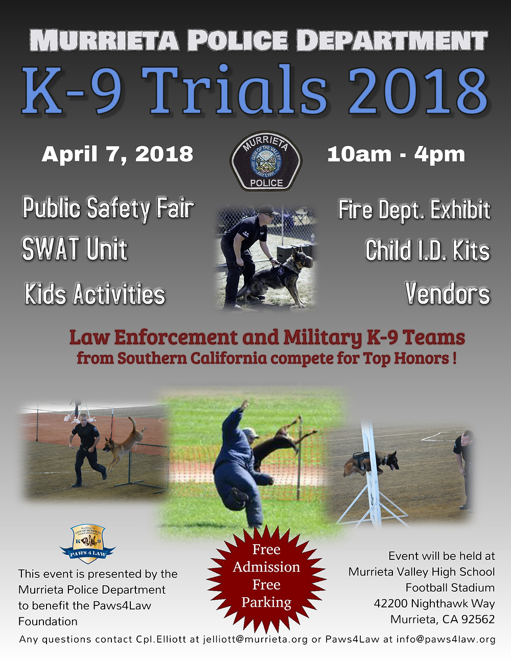 Murrieta Police Department First Annual K-9 Trials APRIL 7 2018
