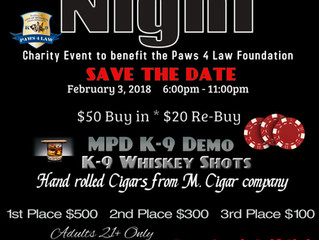 Poker Tournament Fundraiser for Paws4Law February 3, 2018