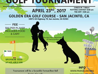 1st Annual Paws4Law Golf Tournament Fundraiser April 23, 2017