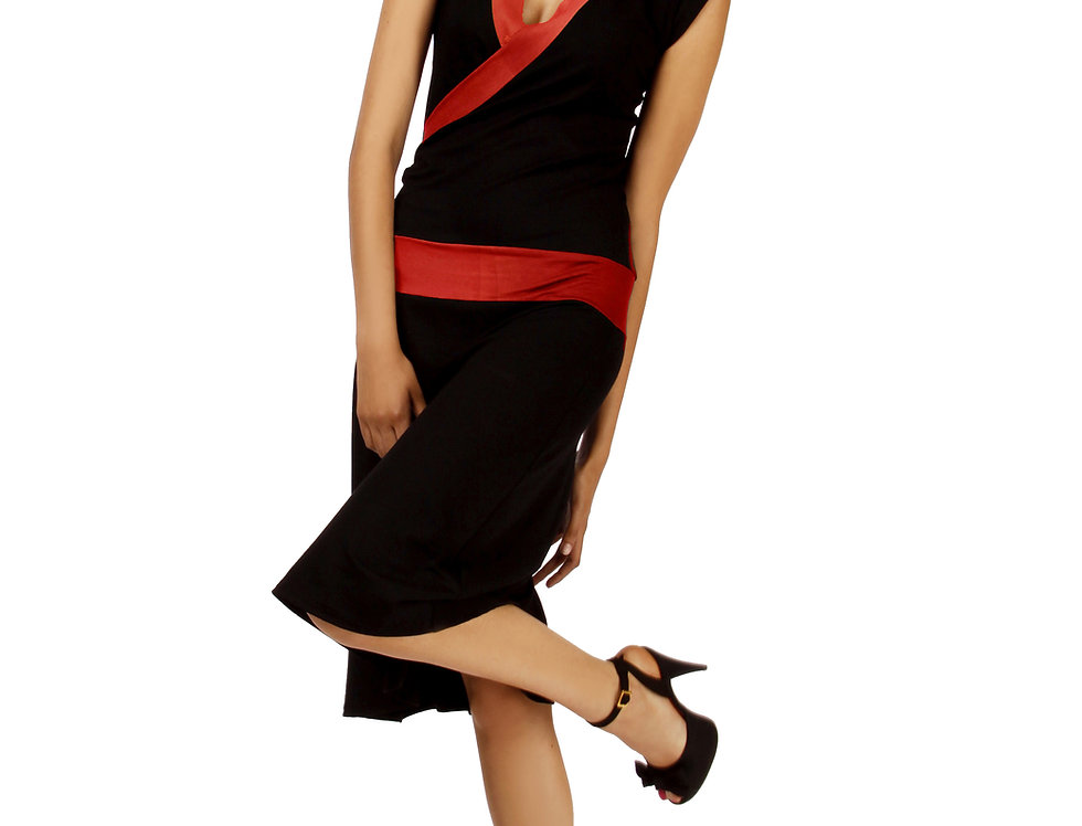 Dress Paula black/red