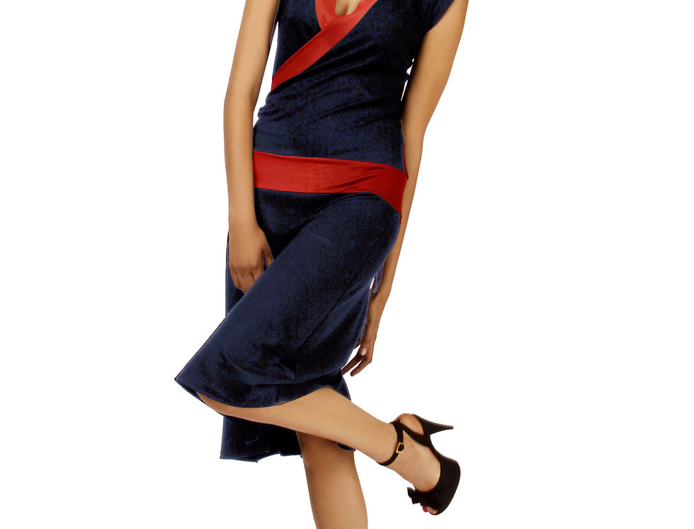 Dress Paula navy/rot