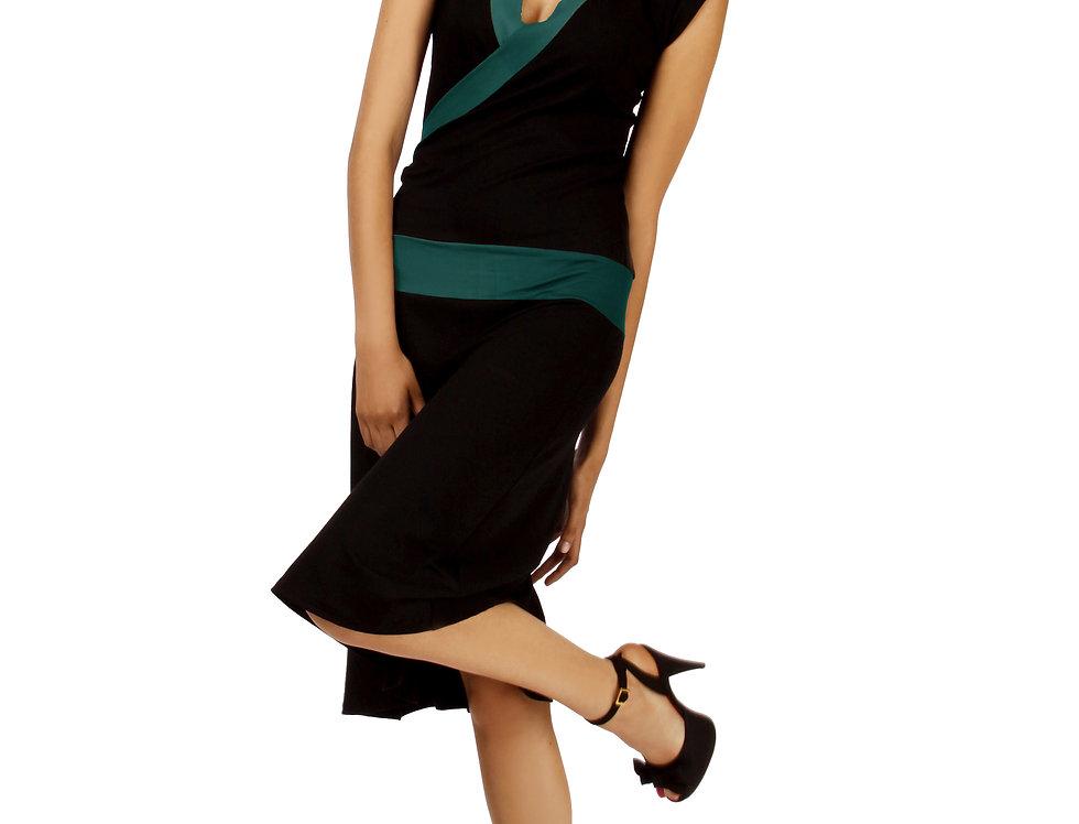 Dress Paula black/petrol
