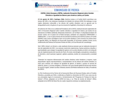 Comunicado de prensa COP25 , Unión Europea y CEPAL