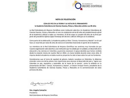 Nota de felicitación a la Academia Colombiana de Ciencias por sus 85 años