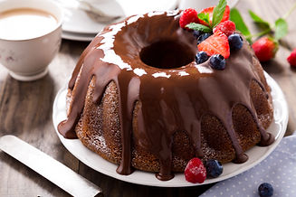 Chocolate bundt cake with melted chocola
