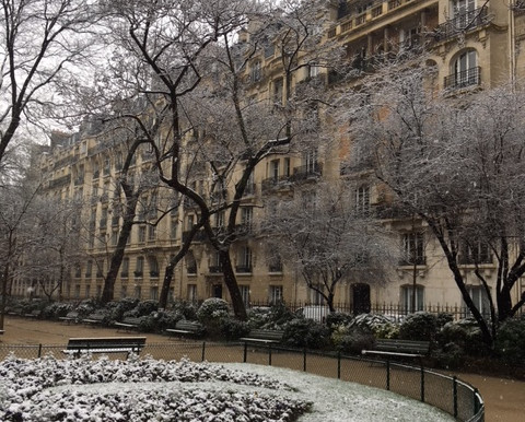 it's snowing in paris!
