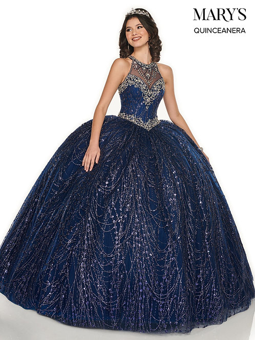 La Reina Quinceanera Dress (STYLE: MQ2076) Navy/Silver Or Gold Color