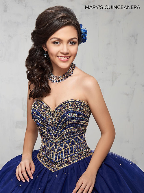 Marys Quinceanera Dress (STYLE: MQ1006)  Dark Navy, Pink, Or White Color