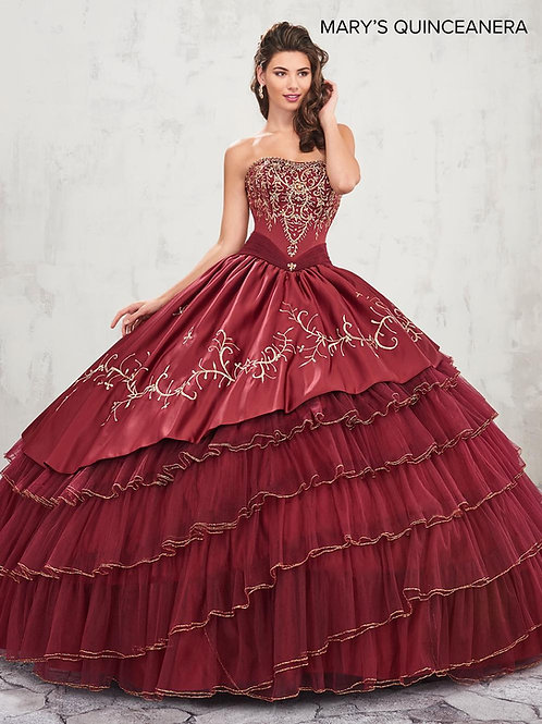 La Reina Quinceanera Dress (STYLE: MQ2007) In Dark Burgundy/Gold Color