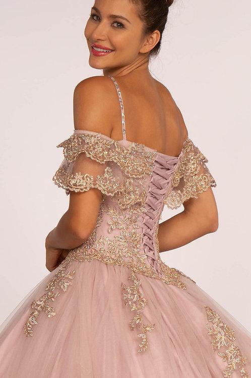 Elizabeth K Off-the-Shoulder Embroidered Mesh Ball Gown (GL2510)