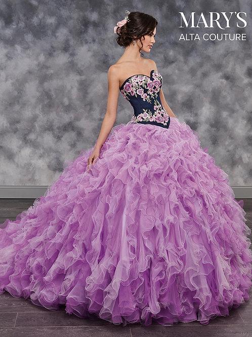 Quinceanera Couture Dress (STYLE: MQ3015) Denim/White Color