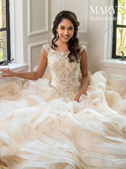 La Reina Quinceanera Dress  (STYLE: MQ2037) Deep Blush or Champagne