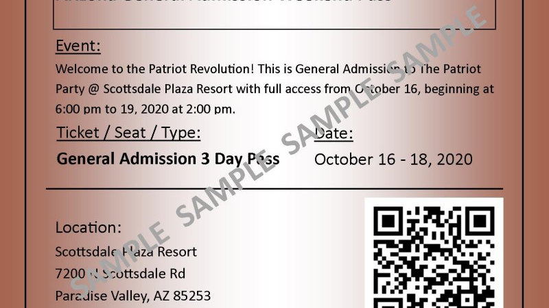 Arizona October, 2020 General Admission!