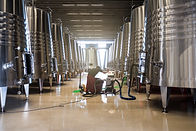 employee extracting wine from containers