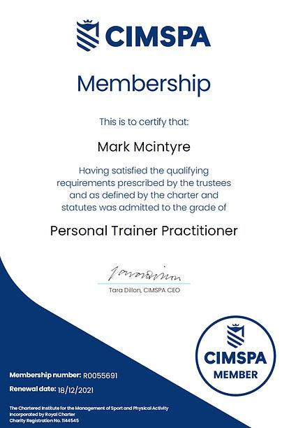 Mark McIntyre CIMSPA membership The Raw Gym Ballymena
