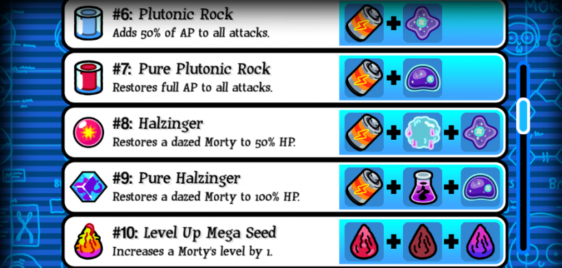 pocket mortys crafting recipes